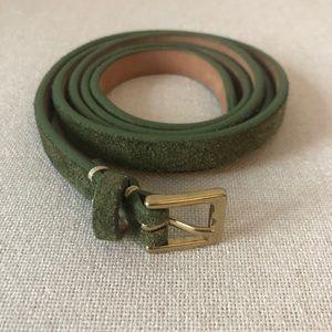 Jcrew Green Suede Skinny Belt